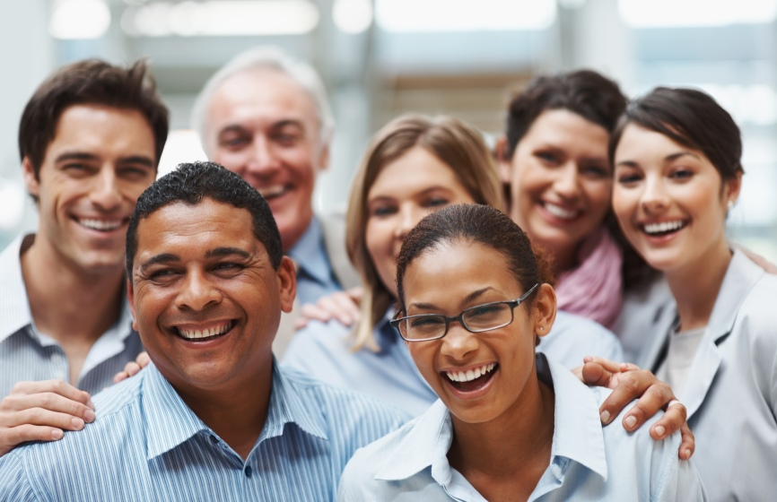 Business success - Group of diverse colleagues having a laugh together